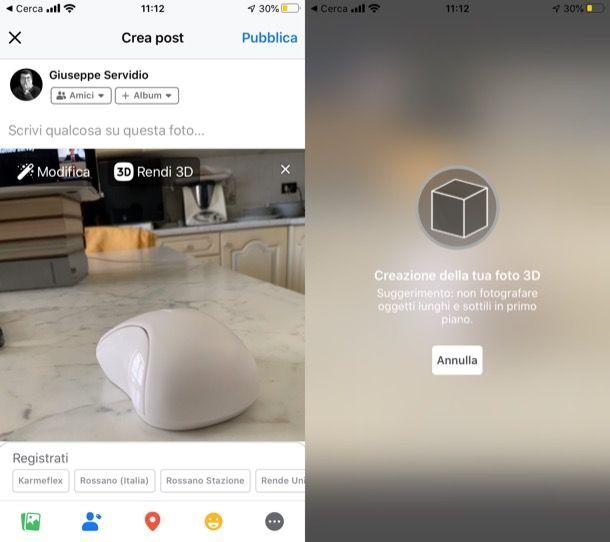 Fare foto 3D Facebook su iPhone