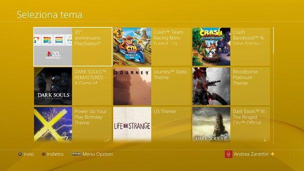 Cambiare tema PS4