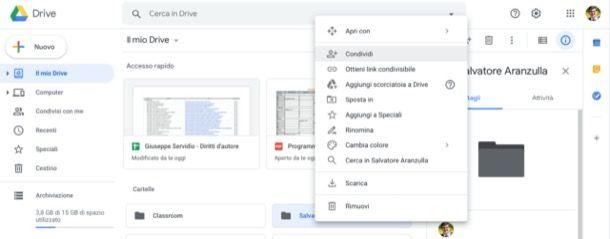 Condividere cartella Google Drive