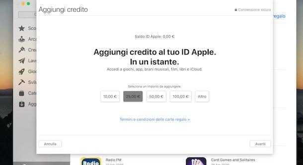 Aggiungere credito ID Apple da Mac