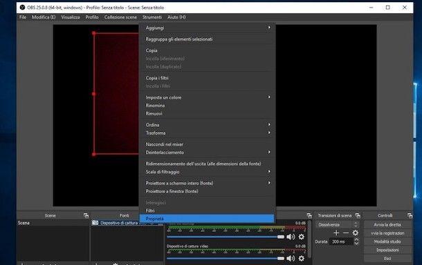 Come configurare la webcam su OBS