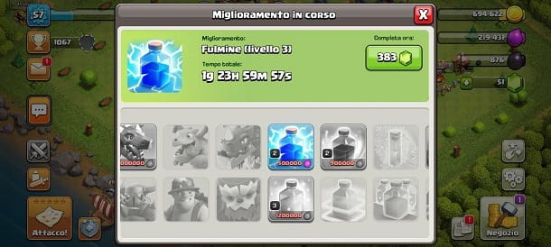 Come migliorare incantesimi su Clash of Clans