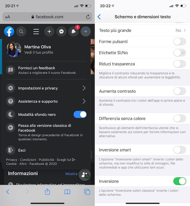 Dark mode Facebook iPhone