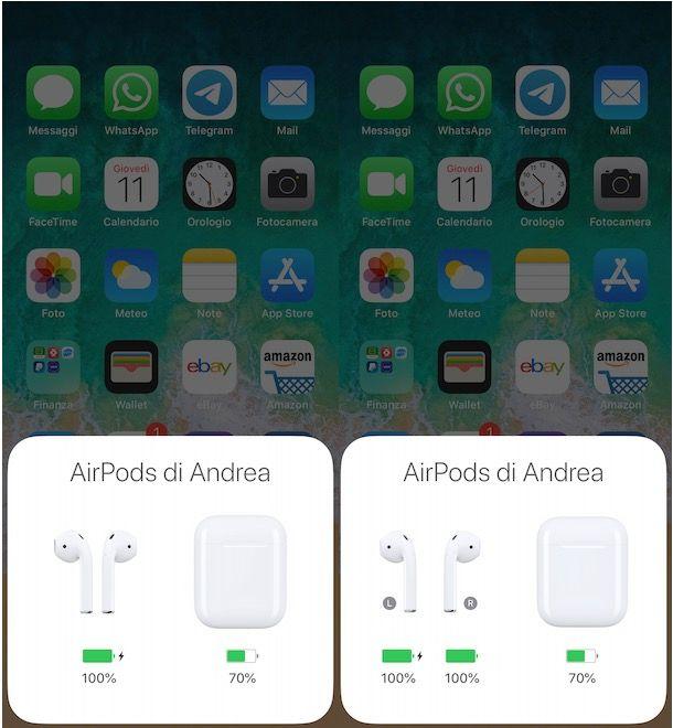 Controllare batteria AirPods su iPhone