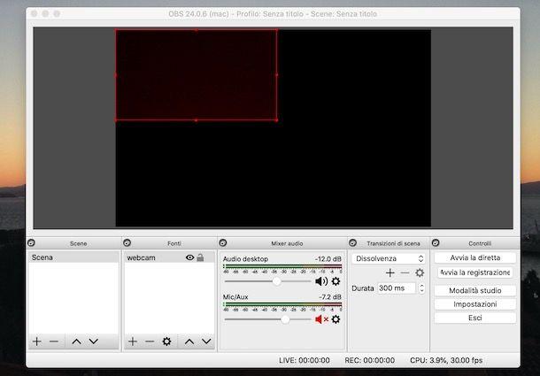 Posizionare la webcam su OBS