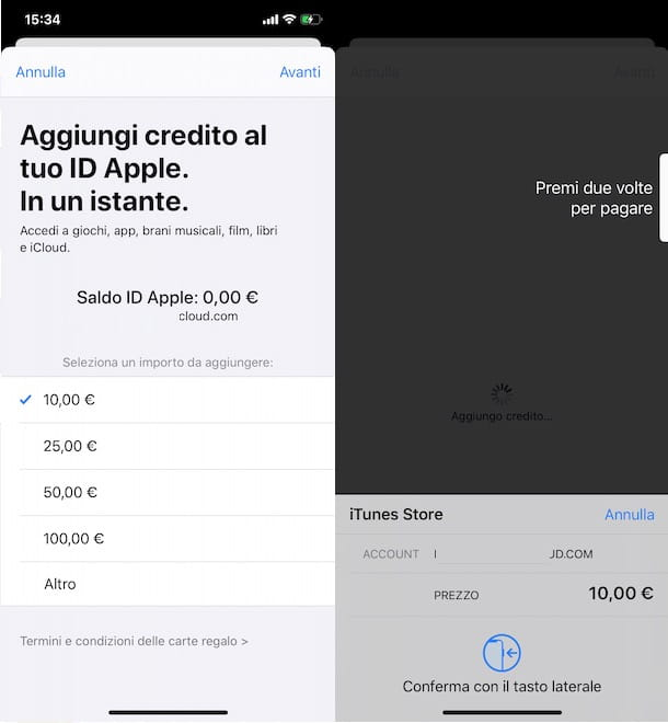 Ricaricare ID Apple