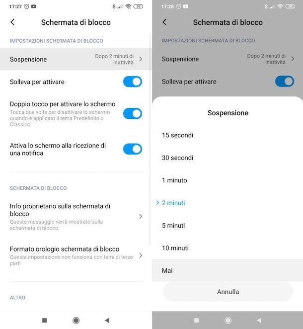 Disattivare sospensione schermo Android