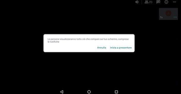 Come condividere schermo con Meet Android