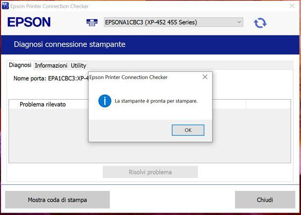 Controllare rete Wi-Fi della stampante Epson da PC