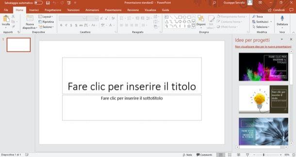 Schermata principale di PowerPoint