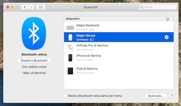 Configurazione mouse Bluetooth su macOS