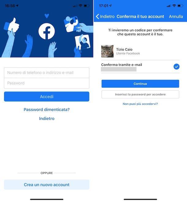 Recupero password Facebook da app