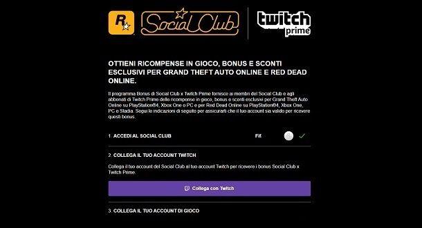 Collegamento Account Twitch Social Club