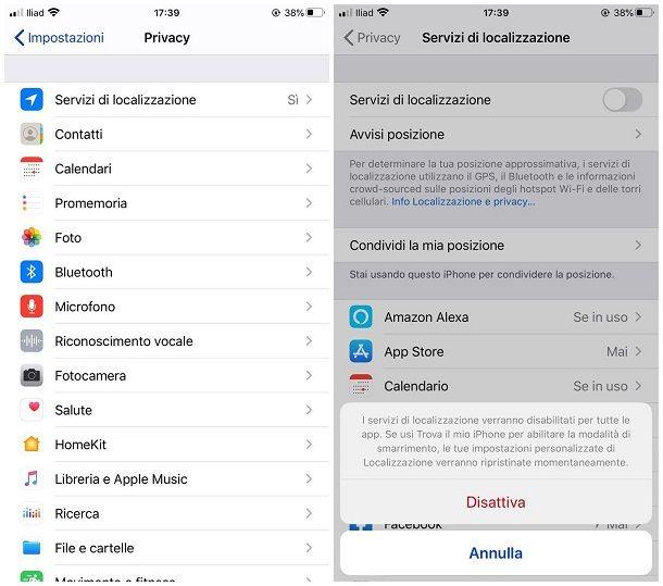 Come disattivare la localizzazione su iPhone