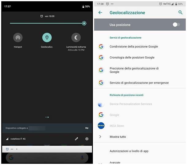 Come disattivare la localizzazione su Android