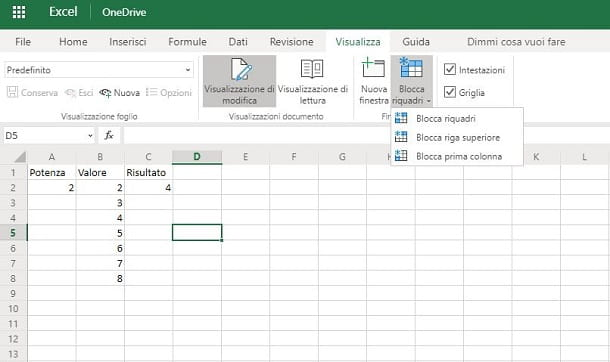 Come bloccare le celle in scorrimento su Excel Online