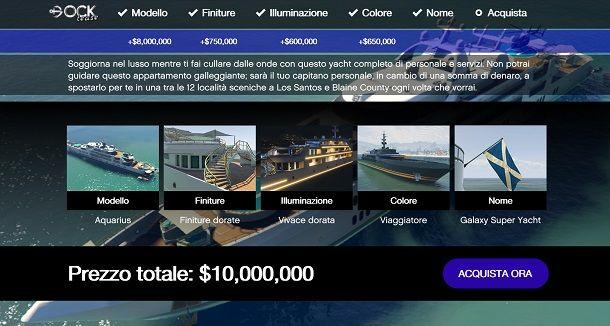 Comprare yacht su GTA Online