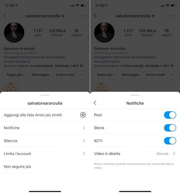 Notifiche mirate Instagram