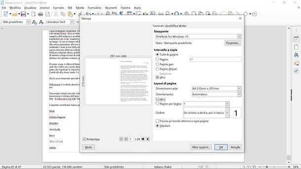 La finestra di stampa di LibreOffice Writer