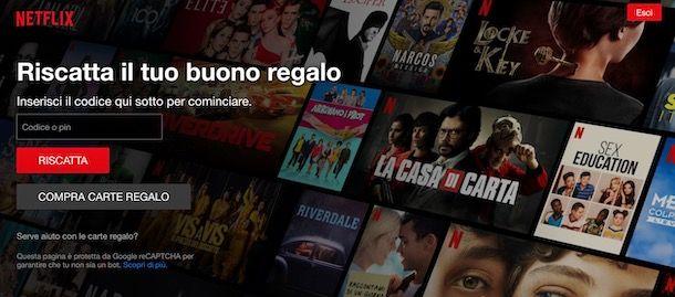 Riscattare carta regalo Netflix