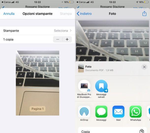 Funzione nativa per esportare foto in PDF su iPhone