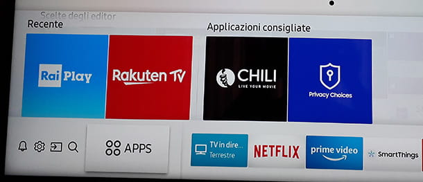 Il pulsante Apps della Smart TV Samsung