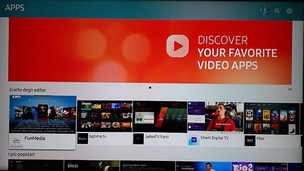 Il pannello delle app per Smart TV Samsung