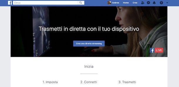 Creare diretta su Facebook