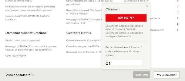 Contattare Netflix
