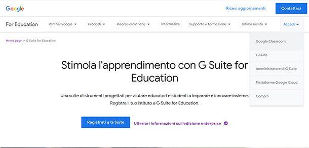 Come accedere a G Suite for Education dalla pagina iniziale