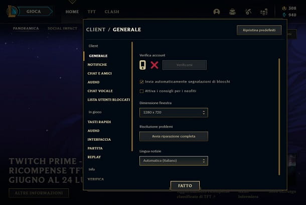 Impostare notizie League of Legends in italiano