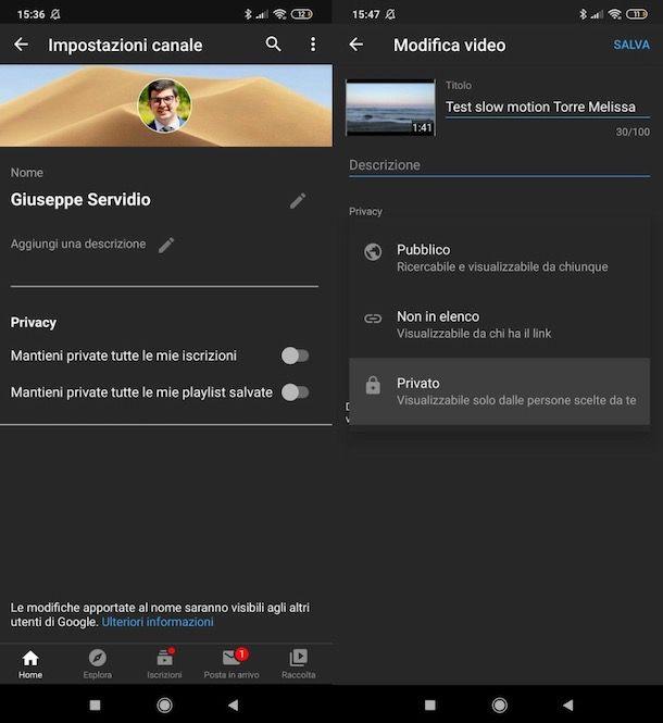 Rendere privato canale YouTube da mobile
