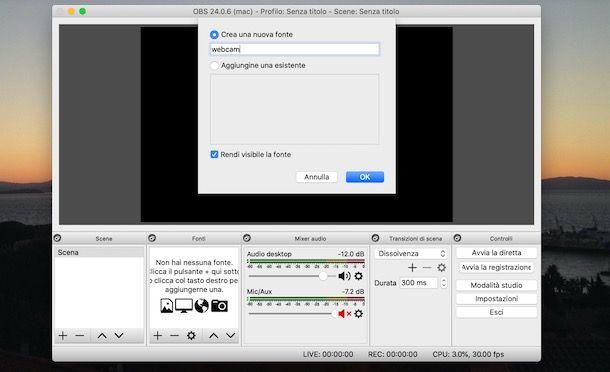 Come aggiungere la webcam su OBS