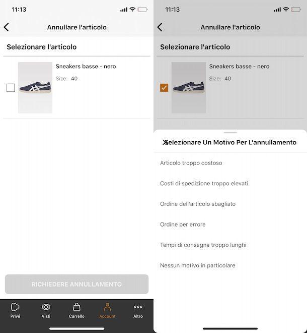 Cancellare ordine Zalando Privé da app