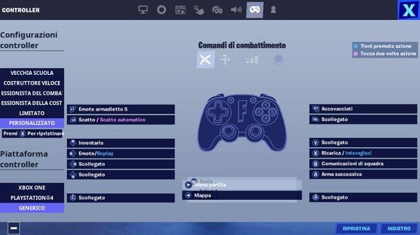 Cambiare i comandi del controller