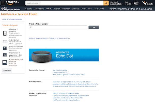 Supporto e assistenza Amazon