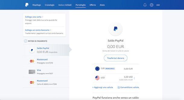 Ricarica con PayPal