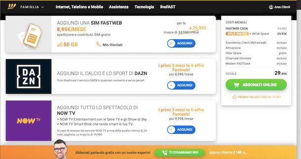offerta Fastweb NOT TV