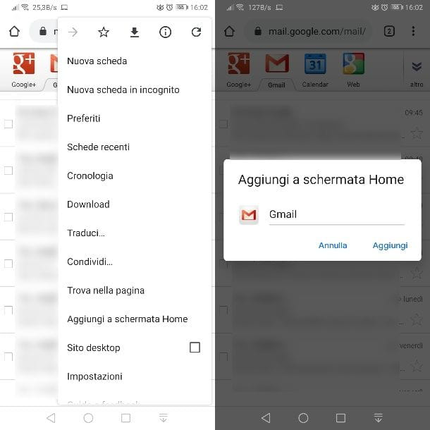 Icona Gmail su desktop con Chrome Android