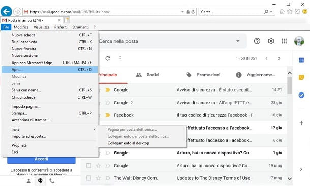 Icona Gmail su desktop con Internet Explorer