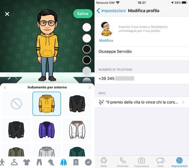Avatar WhatsApp iPhone