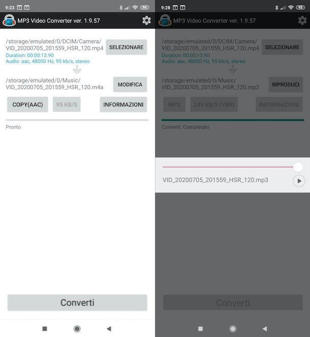 Trasformare video in audio su Android