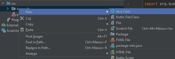 Nuova classe Java IntelliJ