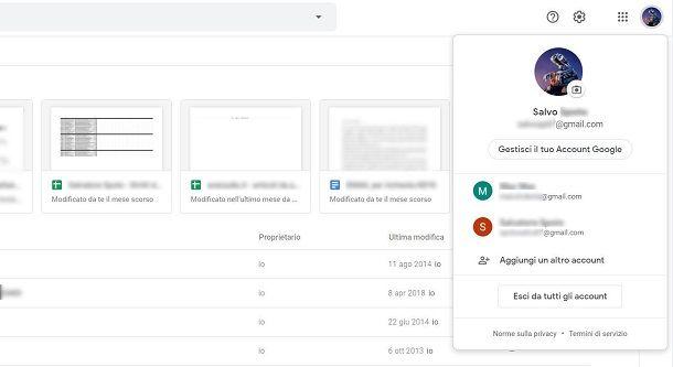 Accesso a Google Drive su browser Web
