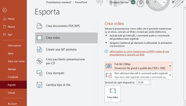 Creare video con PowerPoint
