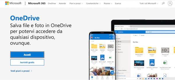 Come accedere a OneDrive online