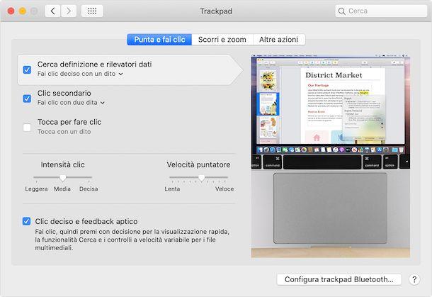 Preferenze di Sistema trackpad macOS