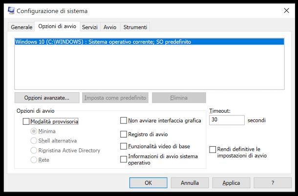 Gestione modalità provvisoria windows 10 da Configurazione di sistema