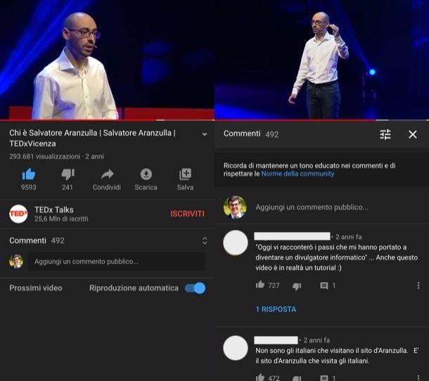 Leggere commenti YouTube iPhone
