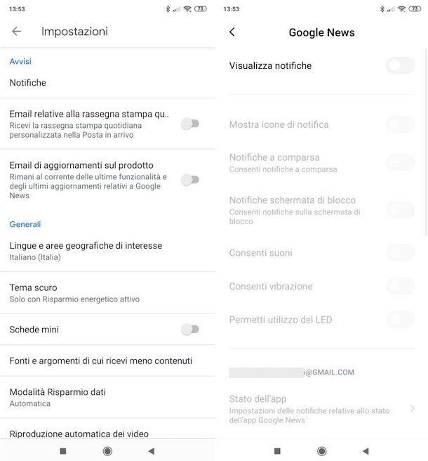 Notifiche Google news